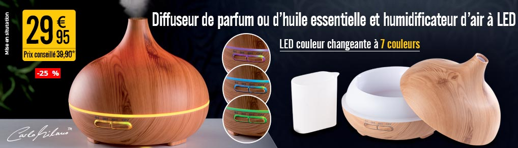 Diffuseur de parfum et humidificateur d'air 300 ml à LED couleur changeante - NX8860