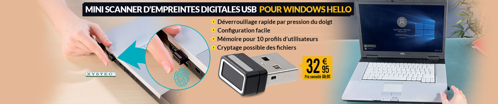 Mini scanner d'empreintes digitales USB pour Windows Hello - PX9532