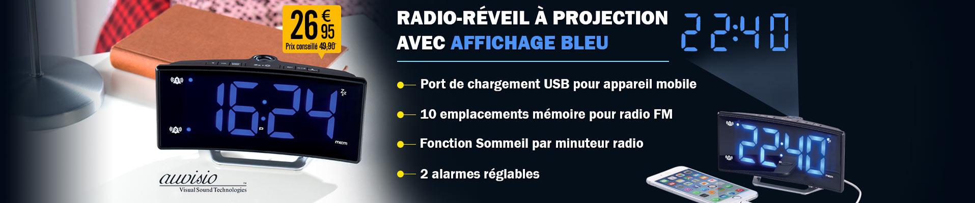 Radio réveil à projection avec affichage bleu et port de chargement usb nx8426