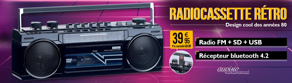 Radiocassette rétro avec fonctions USB / SD / bluetooth MPS-670 - Auvisio - ZX1781