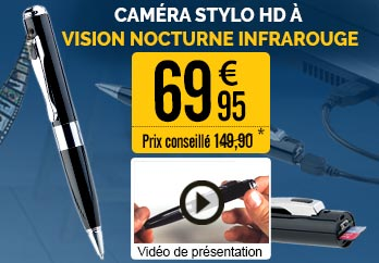 "Caméra stylo HD à vision nocturne infrarouge ""DV-900HD"" - NX4431"